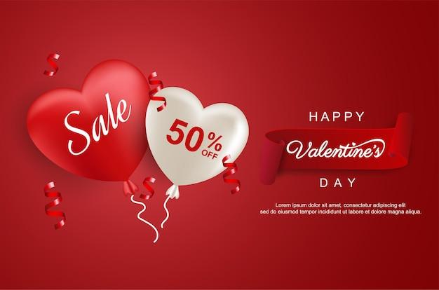 Valentijnsdag verkoop met zoete hartballon