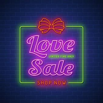 Valentijnsdag verkoop neon teken ontwerpsjabloon