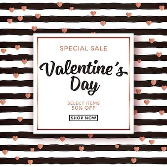 Valentijnsdag verkoop ontwerp met gestreepte achtergrond