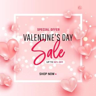 Valentijnsdag verkoop ontwerp roze achtergrond.