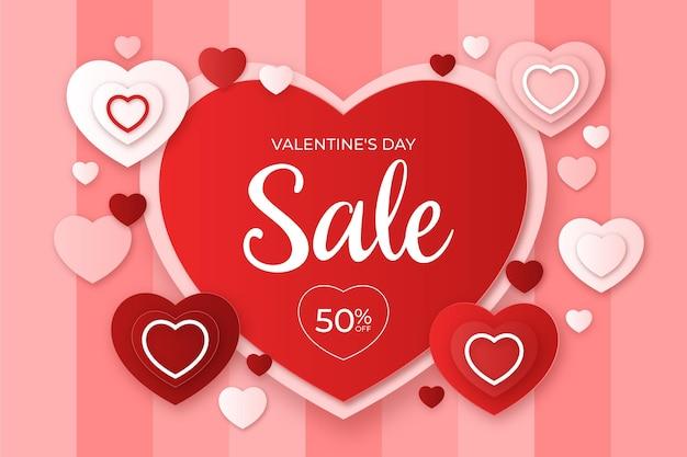 Valentijnsdag verkoop op papier stijl achtergrond