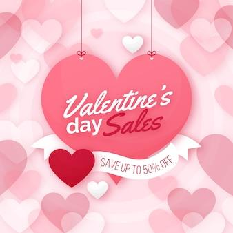 Valentijnsdag verkoop plat ontwerp met aanbieding