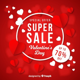 Valentijnsdag verkoop platte achtergrond