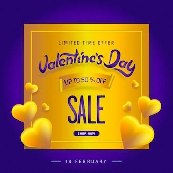 Valentijnsdag verkoop poster met gouden hart achtergrond.
