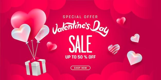 Valentijnsdag verkoop poster met hartjes achtergrond.