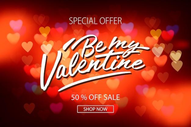 Valentijnsdag verkoop poster met rode harten achtergrond, vectorillustratie.