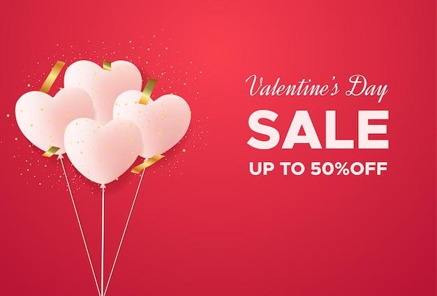 Valentijnsdag verkoop poster of banner met confetti