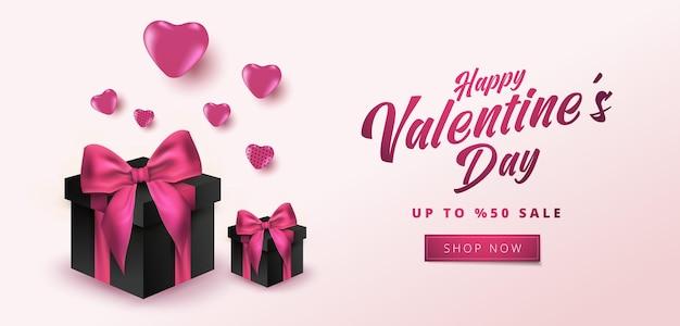Valentijnsdag verkoop poster of banner met hartjes en realistische geschenkdoos op zachte roze achtergrond.