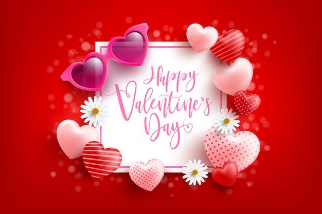 Valentijnsdag verkoop poster of banner met liefje en hartvormige zonnebril op rood. promotie en winkelen sjabloon of voor liefde en valentijnsdag