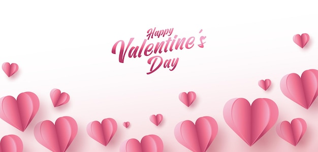 Valentijnsdag verkoop poster of banner met veel zoete harten en op roze kleur achtergrond.
