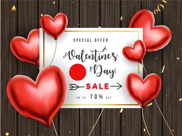 Valentijnsdag verkoop poster of sjabloonontwerp met 70% korting