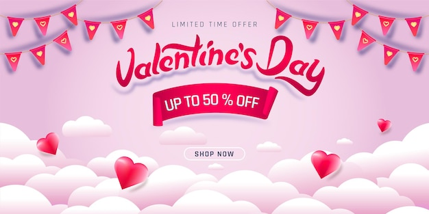 Valentijnsdag verkoop poster.
