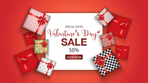 Valentijnsdag verkoop promo met geschenkdoos