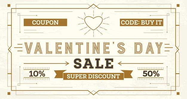 Valentijnsdag verkoop retro. coupon sjabloon met stralen.