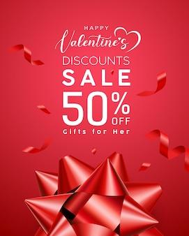 Valentijnsdag verkoop, rood lint.