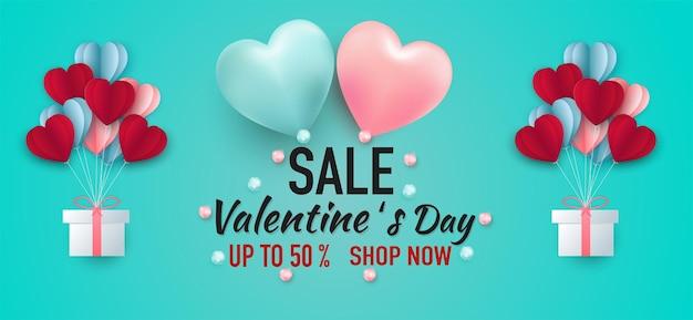 Valentijnsdag verkoop samenstelling met harten.