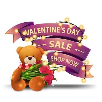 Valentijnsdag verkoop, shop nu, roze kortingsbanner in de vorm van lint gewikkeld met slinger