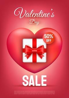 Valentijnsdag verkoop tekst met geschenkdoos en rood lint op hart