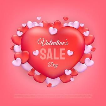 Valentijnsdag verkoop tekst met rode en roze harten achtergrond