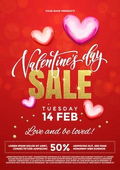 Valentijnsdag verkoop vector poster van harten op premium rode glitter sprankelende lichten achtergrond