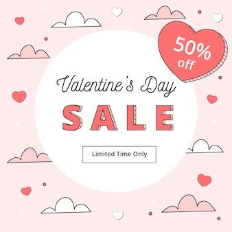 Valentijnsdag verkoopaanbieding in plat ontwerp