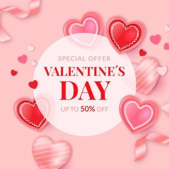 Valentijnsdag verkooppromo met kortingen