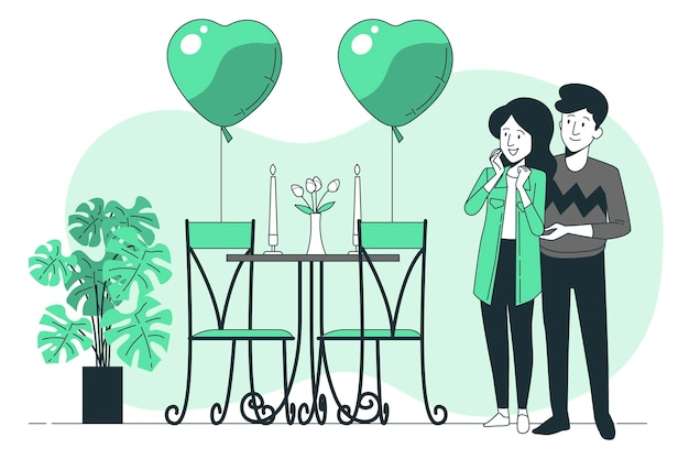 Valentijnsdag verrassing concept illustratie