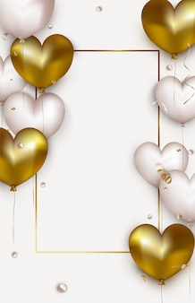 Valentijnsdag verticale banner. wenskaart met witte en gouden 3d ballonnen. sjabloon voor sociale netwerken, uitnodigingen, promoties. .