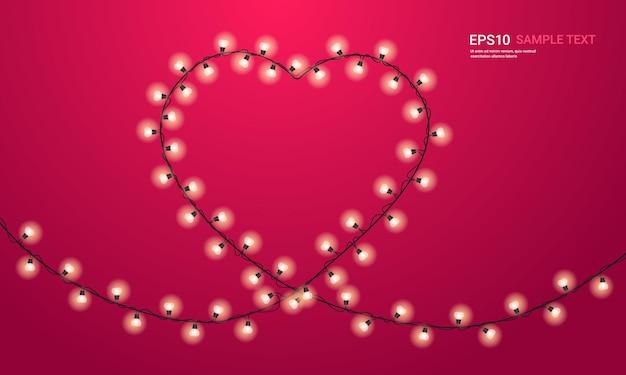 Valentijnsdag viering liefde banner flyer of wenskaart met gloeilampen in hartvorm horizontale afbeelding