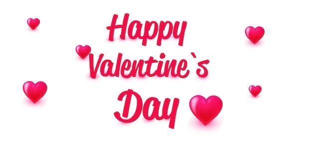 Valentijnsdag viering liefde banner flyer of wenskaart met harten horizontaal
