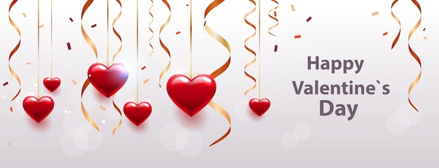 Valentijnsdag viering liefde banner flyer of wenskaart met harten horizontale illustratie