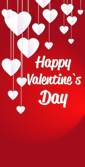 Valentijnsdag viering liefde banner flyer of wenskaart met harten verticaal