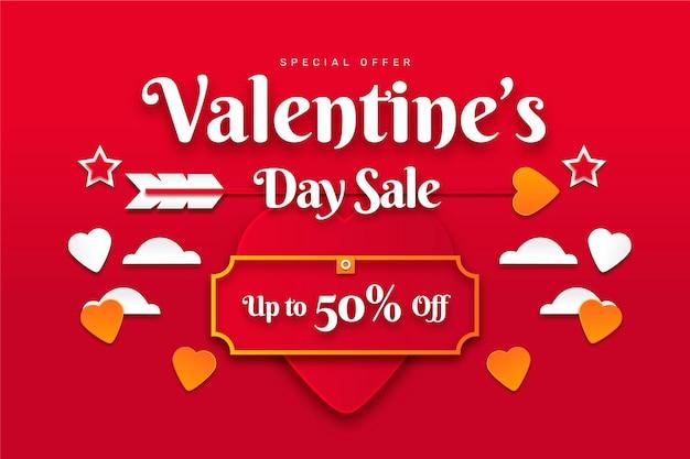 Valentijnsdag viering verkoop in papieren stijl