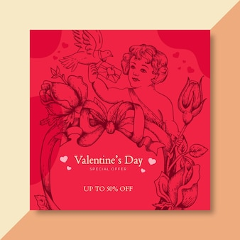 Valentijnsdag vierkante banner