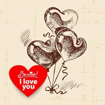 Valentijnsdag vintage achtergrond. hand getekende illustratie met hart vorm banner. ballonnen in hartvorm.