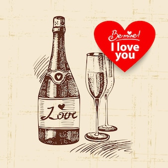 Valentijnsdag vintage achtergrond. hand getekende illustratie met hart vorm banner. champagne en wijnglas