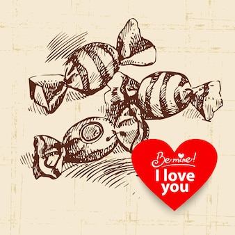 Valentijnsdag vintage achtergrond. hand getekende illustratie met hart vorm banner en snoep
