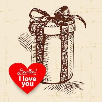 Valentijnsdag vintage achtergrond. hand getekende illustratie met hart vorm banner. geschenkdoos