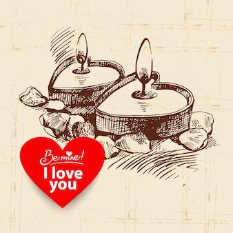 Valentijnsdag vintage achtergrond. hand getekende illustratie met hart vorm banner. kaarsen met rozenblaadjes