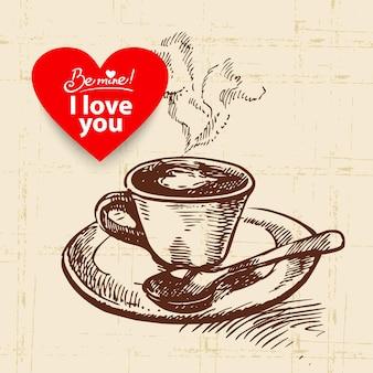 Valentijnsdag vintage achtergrond. hand getekende illustratie met hart vorm banner. kop koffie