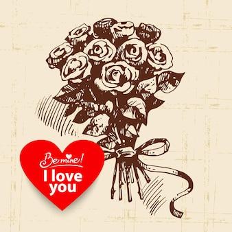Valentijnsdag vintage achtergrond. hand getekende illustratie met hart vorm banner. rozen boeket