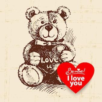 Valentijnsdag vintage achtergrond. hand getekende illustratie met hart vorm banner. teddybeer met hart