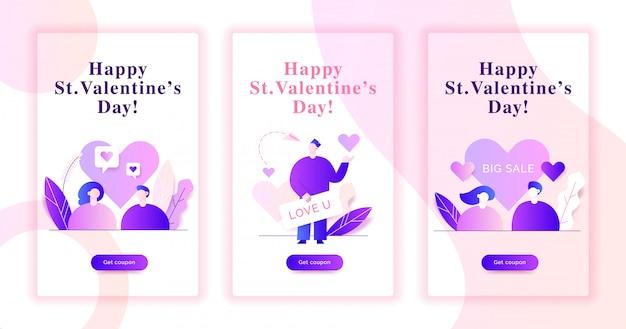 Valentijnsdag webbanner illustraties