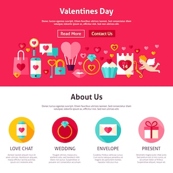 Valentijnsdag webdesign. vlakke stijl vectorillustratie voor websitebanner en bestemmingspagina. liefde vakantie.