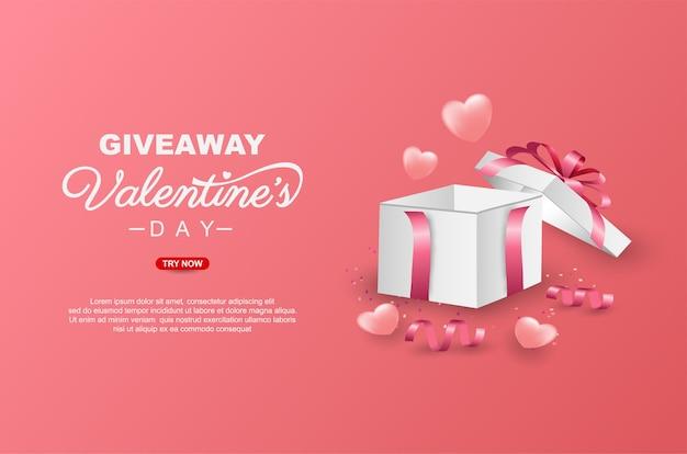 Valentijnsdag weggeefactie met realistische geschenkdoos sjabloonontwerp spandoek