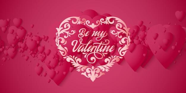 Valentijnsdag wenskaart. elegante rode harten met zachte schaduwen op rood