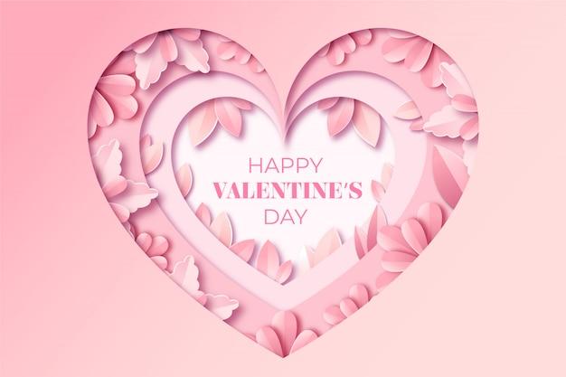 Valentijnsdag wenskaart in papieren stijl.