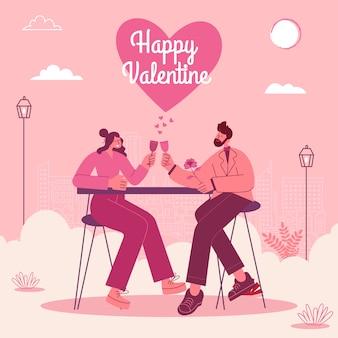 Valentijnsdag wenskaart. jong houdend van paar dat romantisch datumdiner in openlucht heeft. moderne vlakke stijl vectorillustratie