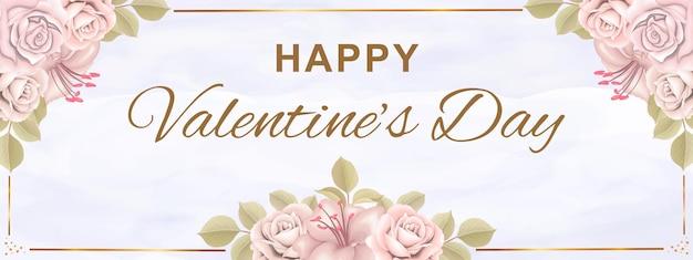 Valentijnsdag wenskaart met bloemen