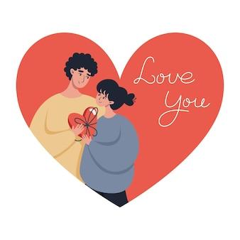 Valentijnsdag wenskaart met een verliefd paar